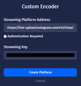 how to live stream from castr to instagram