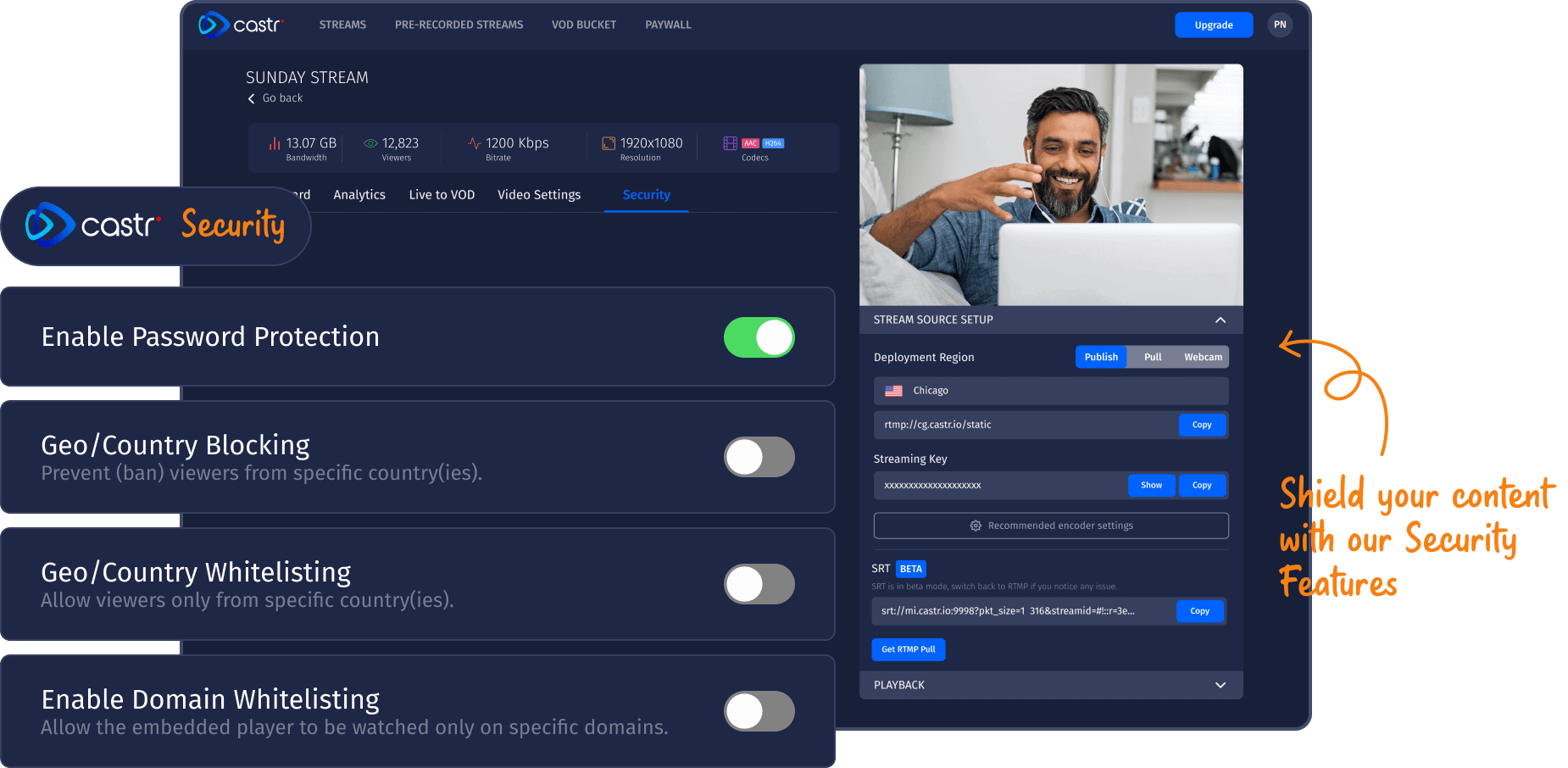 live streaming security features in castr