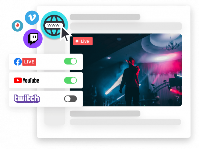 Stream to your own website and 30+ social channels at once